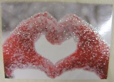 Lovely Glitter Heart In Hands Christmas Cards Pack of 10  ~100% for Charity~