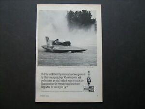 1964 Champion Spark Plug's vintage ad w/Miss Bardahl U-40 Jet Boat Gold Cup Win