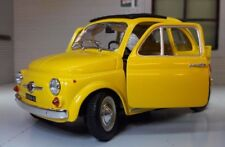 LGB Scale 1:24 1965 Fiat 500 F Berlina Model Yellow Car Detailed Burago Diecast