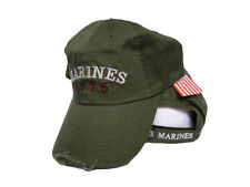USMC Marines Marine Corps Olive Drab 1775 Washed Distressed Embroidered Cap Hat