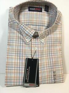 New ROUNDTREE & YORKE Travel Smart Long Sleeve Fine Line Plaid Shirt, 2XT 181/2
