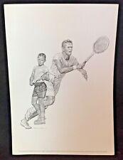 1960s Sports Print TENNIS Picture Robert Riger Drawing JACK KRAMER + kid