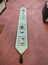 Collectible Beautiful Tapestry Wall Hanging Birds & Houses 42 x 6.5 + Hanger Tas