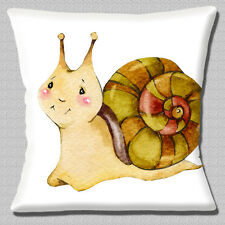 "Snail Smiling Cartoon Character Multicolour on White 16"" Pillow Cushion Cover"