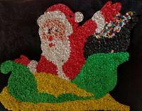 Vintage MELTED PLASTIC POPCORN CHRISTMAS SLEIGH SANTA Toys DECORATION Huge!! HTF
