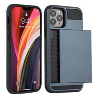 For iPhone 12 mini 12 Pro Max 11 XS X Wallet Credit Card Holder Hard Case Cover