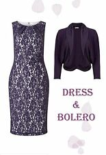 Jacques Vert Damson Purple Lace Dress & Chiffon Collar Knitted Bolero 16