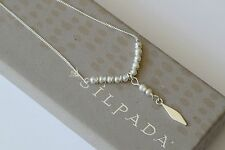 "Silpada NEW Sterling Silver ""Suspended Pearls"" Bead Pendant Necklace N3457 $59"