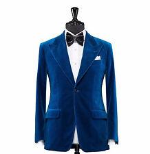 Men Blue Velvet Coat Jacket Blazer Designer Grooms Wedding Tuxedo Casual Dinner
