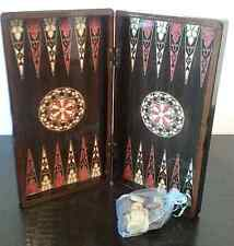 "Backgammon Wooden Board 15"" Yenigun Turkish Board, SeaShell Design Game Case"