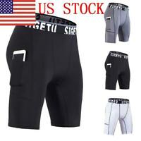 Mens Quick Dry Compression Shorts with Pocket Fitness Workout Sports Gym Pants