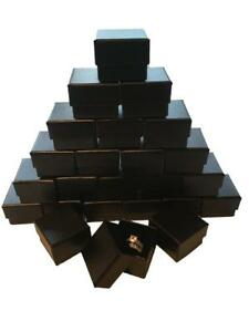 Lot of 24 Black Ring Gift Box with Foam and Velvet Insert 1.5 x 1.5 x 1.25 Inch