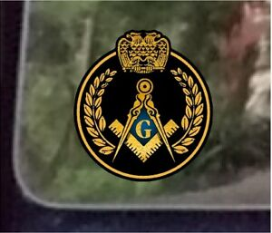 "ProSticker 035 (One) 4""  Masonic Freemason Wreath Decal Sticker Scottish Rite"