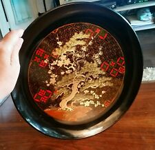 """Vintage 12"""" Round Lacquer Wood Hand Crafted Otagiri Plate Tray Black Gold Japan"""
