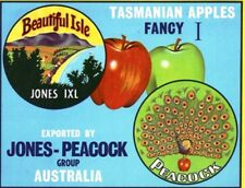 "SALE- Vintage Tasmania Apple Case Labels Fruit Art Poster ""bakers dozen-B"" (13)"