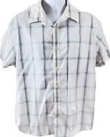 Banana Republic Short Sleeve Button Up Shirt Mens XL Blue White Soft Wash