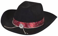 ADULTO MUJER HOMBRE NEGRO Vaquero Salvaje Oeste Sombrero Para Disfraz