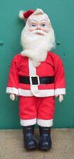 """Vintage Christmas Santa Figures Hard Plastic & Felt 11.5"""" Wool Hair Beard"""