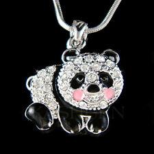 w Swarovski Crystal ~Black White Enamel Cute PANDA BEAR Chinese Necklace Jewelry
