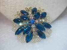 Vintage Gold Tone Heart Scrolled Blue/Teal & A.B.  Rhinestone Brooch, 1960's, 2""