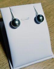 véritable perle de TAHITI de 10.4mm Monté en boucles d'oreilles