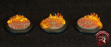 Figure Painters Bases (6) 40mm Mozaic and Flames bases,Round lip, Warmachine