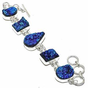 "Titanium Druzy Gemstone Handmade Ethnic Silver Jewelry Bracelet 7-8"" LG3138"