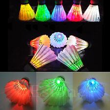 4 Pcs LED Badminton Balls Birdies Lighting Glow in Dark Colorful Shuttlecock New