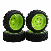 4PCS Black Rubber Tires and Green Plastic Wheel 12mm Hex for RC1:10 Rally Car