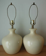 Pair 2 Vintage Mid Century Butter Yellow Glazed Ceramic Table Lamps
