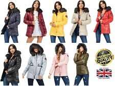 New Women's Faux Fur Hooded Quilted Padded Badge Detail Warm Winter Jacket Coat