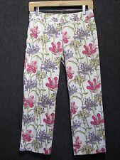 ANN TAYLOR LOFT White w/Floral Multicolor Print Capri Pants SZ 2P NEW