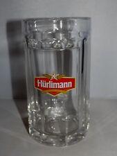 HURLIMANN CLEAR GLASS BEER STEIN MUG TANKARD SWISS BREWERY SAHM