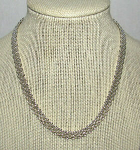 """Milor 925 Sterling Silver Bismark Chain Choker Necklace Italy 30 Grams 16"""""""