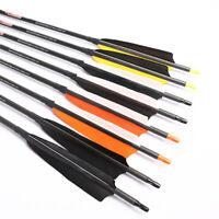6/12PCS  Archery Carbon Arrows Shaft Spine 500 5'' Turkey Vanes Bow Hunting