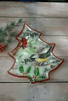 Grasslands Road Tree Shaped Glass Platter Christmas Song with Birds