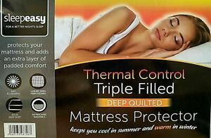 Triple Filled Thermal Control Soft Quilted Mattress Protector 40cm Deep Fitted
