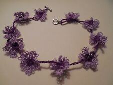 """Tatted Purple Choker 10 Tatted Flowers 14"""" Long Dove Country Tatting Designed"""