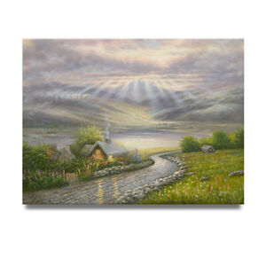 NY Art- God-Rays Over the Valley 36x48 Original Landscape Oil Painting on Canvas