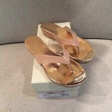 NWB Jimmy Choo Pence Blush Pink Patient Leather Low Wedge Cork Thong Sandals 7.5