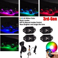 4x Pods RGB LED Rock Light Music Strobe Disco Wireless Bluetooth & Manual Mode