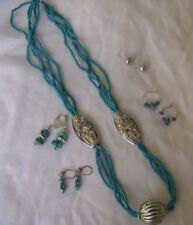 Necklace Earrings Turquoise Sliver Beads Stone