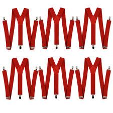 RED BRACES 6 PACK MEN'S GANGSTER 20'S 40'S CLOWN FANCY DRESS SUSPENDERS COSTUME