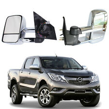Chrome Extendable Power Towing Mirrors W/ Indicators For MAZDA BT-50 2012-ON