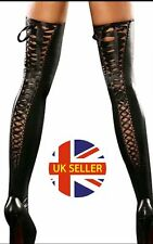 Sexy PVC Wet Look Stockings With Band, Tights Socks Pantyhose Hosiery, Size: S-L