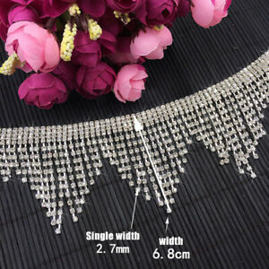 10cm/60cm Bridal Rhinestone Chain Tassel Fringe Diamante Ribbon Rhinestone Trim