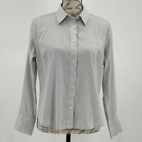 Ann Taylor Blouse NWOT Grey & Black Embroidered Long Sleeve Button Top Size 12 L
