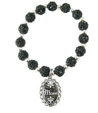 Mom Black Jeweled Beads Crystal Stretch Bracelet Domed Charm Jewelry Gift Mother