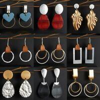 Fashion Handmade Leather Metal Earrings Boho Teardrop Dangle Ear Hook Jewellery