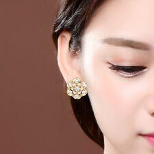 Lovely Lady Gilrs Flower Stud Hoop Earrings Topaz Crystal Gold Filled Jewelry